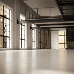 Architecture, Black And White Loft Design Equipped With Colorful Interior: Glossy White Floor In White Downstairs