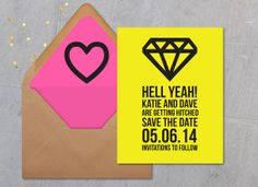 Neon Save the Date, fun save the date, bold save the date, colorful wedding annoucement, by daydream prints