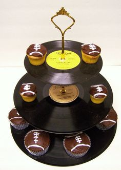 Cupcake stand from old records.  Where do you get the parts?