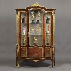 A Very Fine Louis XV Style Gilt-Bronze Mounted Kingwood Serpentine #Vitrine With Boulle Marquetry Panels - #adrianalan #antique