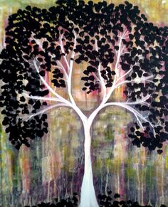 Creating a Tree Painting can be just as simple as saying 1, 2, 3 1. Create the background 2. Sketch the tree trunk and branches 3. Dab on the leaves