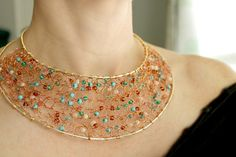 Knitted Wire Necklace Statement Necklace Bib Necklace por NaiveChic, $75.00