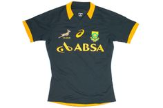 South Africa Springboks Home Test S/S Rugby Shirt Bottle Green South African Rugby, Rugby Shirts, Rugby Players, Luigi, Bottle, Green, Sports, Mens Tops, Hs Sports