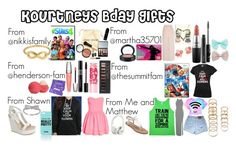 """""""Kourtneys bday gifts"""" by allyfrazier2002 ❤ liked on Polyvore featuring ChloBo, Bobbi Brown Cosmetics, Forever 21, Lancôme, Christian Dior, Maybelline, Eos, Kate Spade, MAC Cosmetics and Wet Seal"""