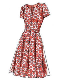 Vogue Patterns Sewing Pattern Misses' Notch-Neck Princess-Seam Dresses Dress Design Sketches, Fashion Design Sketches, Dress Designs, Fashion Drawing Dresses, Clothing Sketches, Dress Making Patterns, Vogue Sewing Patterns, Fashion Details, Fashion Fashion