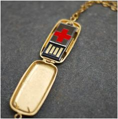 The USB medical alert tag is a much better alternative as they can contain more information than the traditional bracelet. Medical alert bracelets have very little space for engraving whereas the USB flash drive can contain a list of current medications, Medical Alert Tattoo, Body Jewelry Shop, Gadgets, Medical Information, Medical History, In Case Of Emergency, Usb Drive, Red Cross, Accessories