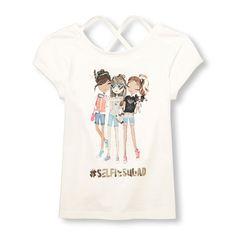 b67e999e Girls Short Sleeve Sequin Graphic Cross-Back Top | The Children's Place  Kids Shorts,