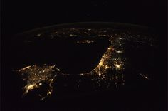 Middle East by night from the ISS.  'A clear starry night over the eastern end of the Mediterranean Sea . Ancient lands with thousands of years of history stretching from Athens, Greece all the way around the Med to Cairo, Egypt. Storied lands, fabled cities, and alluring islands… Athens – Crete – Rhodes – Izmir – Ankara – Cyprus – Damascus – Beirut – Haifa – Amman – Tel Aviv – Jerusalem – Cairo are beacons on this cool November night.'