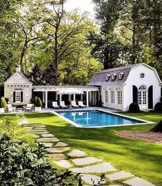 The Perfect Pool House is part of Dream house exterior - Today I thought I'd talk about the ultimate summer living accessory, the pool house the perfect great escape! Casas Na Georgia, Outdoor Spaces, Outdoor Living, Outdoor Pool, Pool House Designs, Dream Pools, Dream House Exterior, Colonial House Exteriors, House Goals