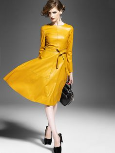 Yellow Round Neck Long Sleeve Tie-Waist Leather Dress -SheIn(abaday)