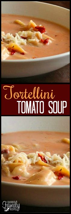 This Tortellini Tomato Soup is creamy and comforting. The recipe is simple, but the soup tastes like a gourmet soup from a fancy restaurant. via @favfamilyrecipz
