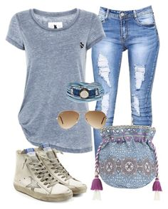 """""""Untitled #2602"""" by alice-fortuna on Polyvore featuring Monsoon, Golden Goose, Platadepalo and Ray-Ban"""