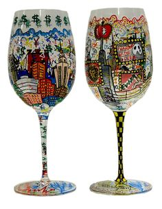 These hand painted wine glasses are custom made to order and personalized with any theme you desire in Charles Fazzino's signature style.