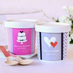 Personalized Bridal Ice Cream Pint Containers by Beau-coup - Wedding Gift Idea for Guest Welcome bag, add chocolate candy