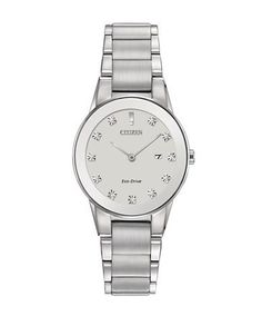 Citizen Axiom Eco-Drive Stainless Steel and Diamond Watch Women's Silv