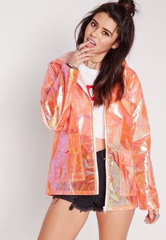 Keep your style funky fresh with this awesome holographic raincoat.