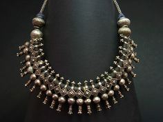 A simply awesome old Kuchi silver choker from Afghanistan. It features silver… Silver Jewellery Indian, Tribal Jewelry, Jewelry Art, Antique Jewelry, Silver Jewelry, Silver Beads, Silver Accessories, Boho Jewelry, Bijoux Art Nouveau