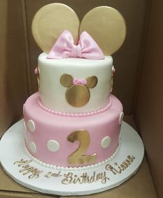 Calumet Bakery Gold and Pink Minnie Mouse Two tier fondant cake