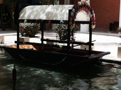 This is one of the canal boats that you can take to get to the resorts park.