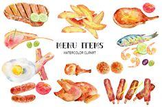 Watercolor Clipart Menu Items by Corner Croft on @creativemarket