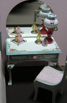 Miniature Dollhouse Furniture  Hand Painted Vanity Table 1 in. by Janet Peters #JanetPeters
