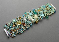 Freeform peyote bracelet Under The Sea  beaded by Anabel27shop, $52.00
