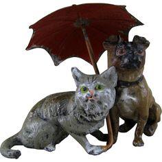 Pug Dog & Cat under Umbrella c1900 Vintage Heyde Metal Figurine