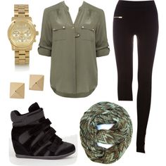 Green blouse, black leggings, sneaker wedges & golden accessories