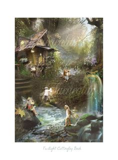 Twighlight Cottingley Woods - Fairy Print Mounted or unmounted or two sizes of plaques to choose from-All  signed  By Charlotte Bird