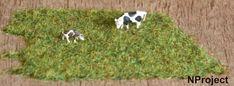 Gras leggen met een stofzuiger: ondergrond verven (groen), gras in lege afwasfles met gat van ca. 1/2cm. schudden en dan uitstrooien in de natte verf, daarna overtollig gras opzuigen met een panty over de slang.