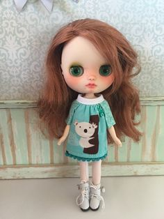 Cute Smock dress for Blythe Middie or similar doll Made from a pattern made by ourselves. An Ellie Moe Original Design Edges are fray checked and