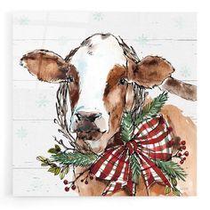 Grey Canvas Art, Cow Canvas, Grey Art, Canvas Artwork, Canvas Wall Art, Canvas Prints, Art Prints, Birch Lane, Christmas Paintings On Canvas