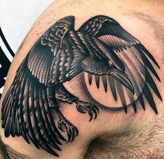 Raven Flying Over The Moon Tattoo Mens Shoulder