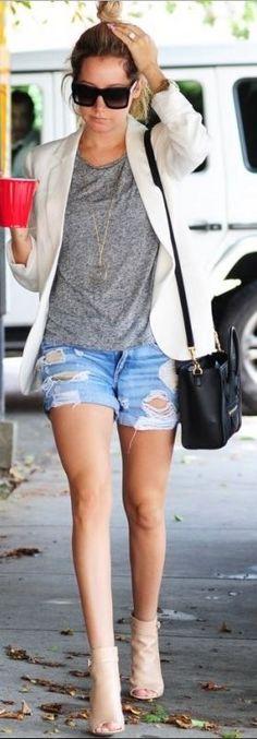 Ashley Tisdale: Purse – Celine  Shorts – Rag & Bone  Shoes – Gianvito Rossi