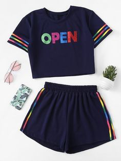over 40 womens fashion 1687 Cute Lazy Outfits, Trendy Outfits, Cool Outfits, Rave Outfits, Crop Top And Shorts, Crop Top Outfits, Girls Fashion Clothes, Teen Fashion Outfits, Womens Fashion