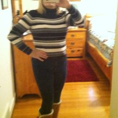 Black grey and white striped turtleneck sweater. This sweater is 100% Cotton and is really soft and comfy.  It is in good condition with no pulls or stains. Jeanne Pierre Sweaters Cowl & Turtlenecks