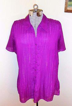 Women's Plus Size 1X Accordion Pleated Shirt Blouse Top Fashion Bug Semi Sheer   eBay