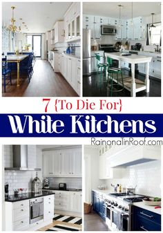 White kitchens are a classic - they won't date easily at all. Here are 7, in my opinion to-die-for white kitchens that are sure to leave you drooling. via RainonaTinRoof.com