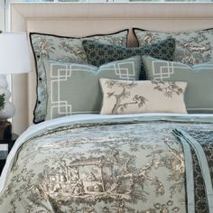 LOVE!!  Robins Egg Blue Quilt | Robin's egg blue, espresso, and ivory toile bedding ... | For the Home