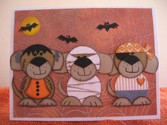 Three more trick or treat puppies is a companion card to my trick or treat puppies done last year Oct 2013. This too, was inspired by the Three goblins on a fence series that I did in Oct 2012. All of these cards can be found in my gallery.  I also added this card to clallenge CT1014 as I am devoted to our three rescue dogs.  Thank you for taking a look.