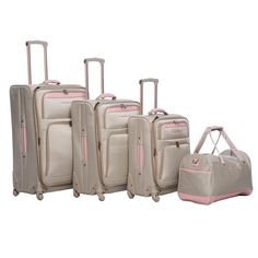 Perfectly decadent, yet subtle, the champagne and pink combination of this Tommy Bahama Mama luggage set is worthy of a toast. You'll love the zippered pockets, retractable handles, spinner wheels and versatile storage this set provides.