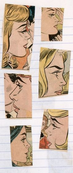 USA pop art: Comic-book cuttings on a page from one of Lichtenstein's notebooks