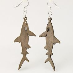 Great White Sharks - Laser Cut Wood Earrings. $12.95, via Etsy. @Emylia Mier Denis