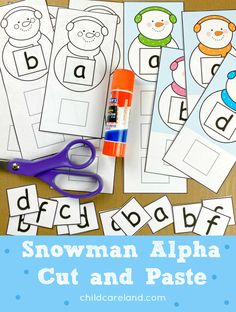 Snowman alphabet cut and paste fore letter recognition and scissor skills. Circle Time Activities, Early Learning Activities, Learning Shapes, Classroom Activities, Activities For Kids, Kids Educational Crafts, Science Crafts, Educational Websites, Science For Kids