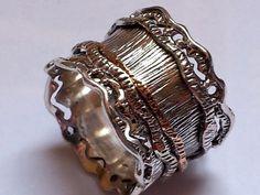 Romantic #spinner #ring , silver and gold rings , spinning ring , israeli rings , meditation ring by Bluenoemi on Etsy