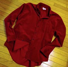 Mens Large Button Down Shirt J CREW Long Sleeve Red Narrow Whale Corduroy Casual #JCrew #ButtonFront