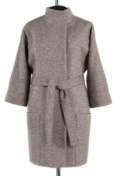 01-4722 Пальто женское демисезонное (пояс) Твид Бежевый