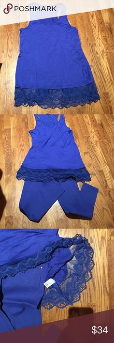 Blue lace under sportswear.  XL. Blue lace under sportswear.  Size XL. Never worn.  92% Polyester. 8% Spandex. Hand wash cold. Do Not BLEACH.  Do Not Iron.  Hang dry.  Made in USA. Intimates & Sleepwear Chemises & Slips