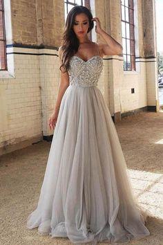 Grey Prom Dresses #GreyPromDresses, A-Line Prom Dresses #ALinePromDresses, Prom Dresses 2018 #PromDresses2018, Prom Dresses Backless #PromDressesBackless