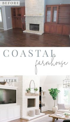 Coastal Farmhouse Before and After Living Room - Grey and White Living Room - Fireplace Makeover - German Smear Stone Fireplace - Farmhouse Fireplace - Alabaster White Living Room - Home Remodel - Home Renovation - Farmhouse Living Grey Fireplace, Farmhouse Fireplace, Living Room With Fireplace, Farmhouse Windows, Fireplace Ideas, Coastal Living Rooms, Living Room Grey, Living Room Furniture, Living Spaces